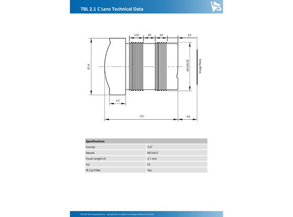 TBL 2.1 C Lens Technical Data