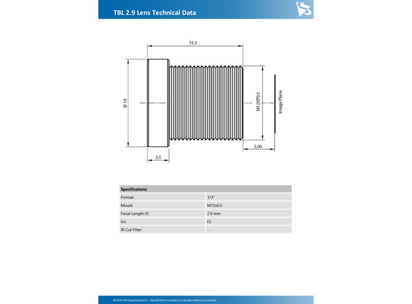 TBL 2.9 Lens Technical Data