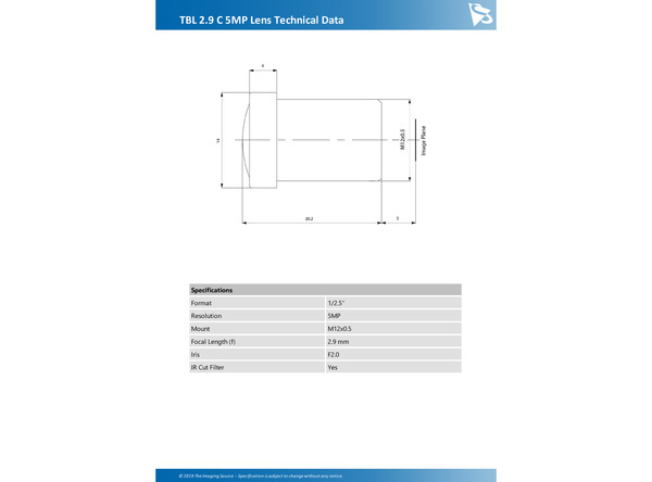 TBL 2.9 C 5MP Lens Technical Data