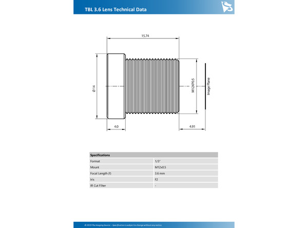 TBL 3.6 Lens Technical Data