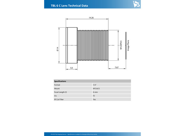 TBL 6 C Lens Technical Data