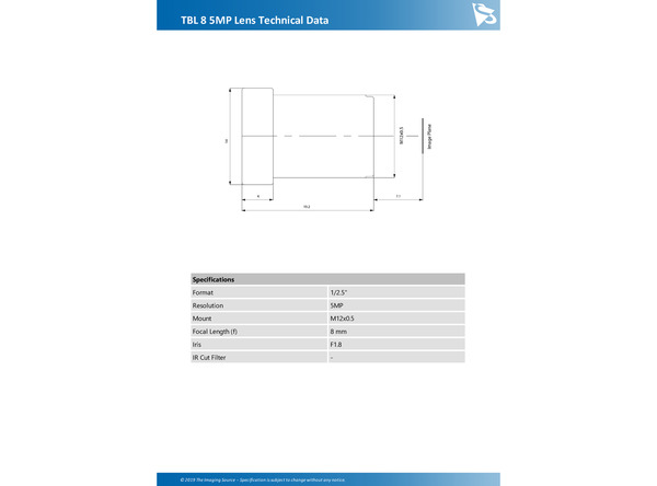 TBL 8 5MP Lens Technical Data