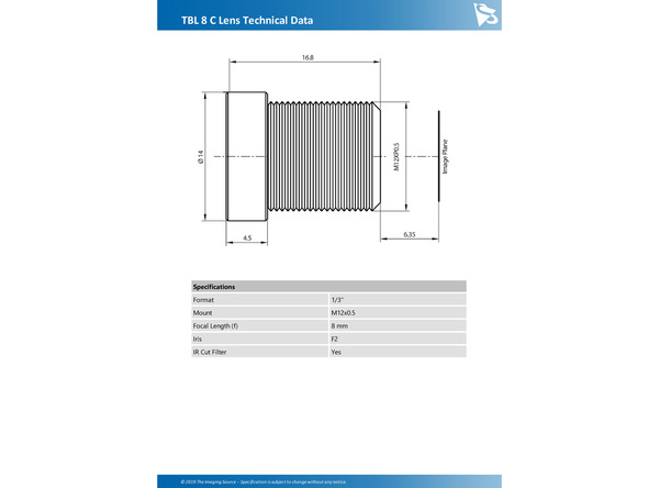 TBL 8 C Lens Technical Data