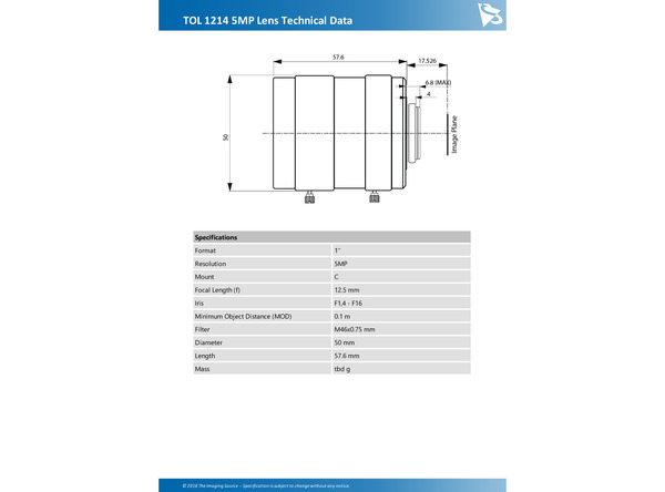 TOL 1214 5MP Lens Technical Data