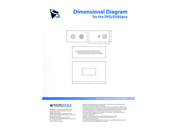 Dimensional Diagram for the DFG/USB2pro