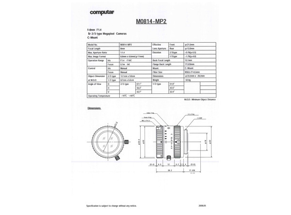 Datasheet for M0814-MP2 Lens