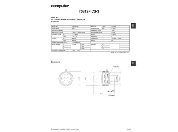 Datasheet for T 0812 FICS-3 Lens