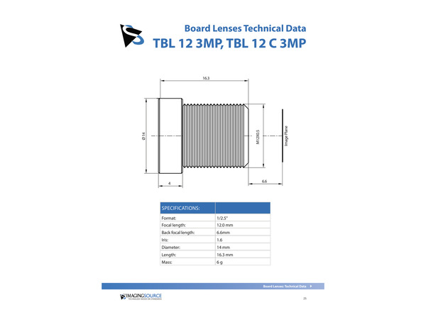 Datasheet for TBL 12 3MP Lens