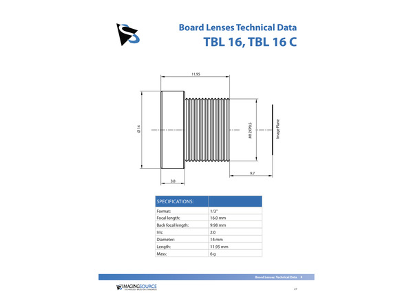 Datasheet for TBL 16 Lens
