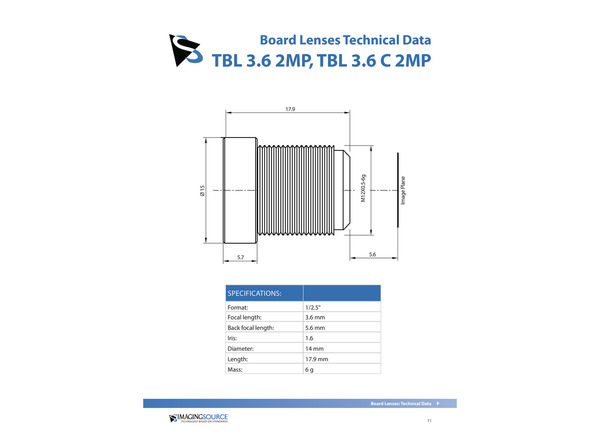 Datasheet for TBL 3.6 2MP Lens