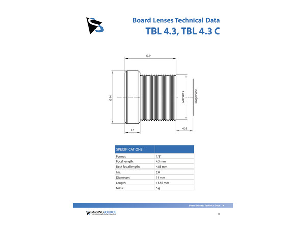 Datasheet for TBL 4.3 Lens