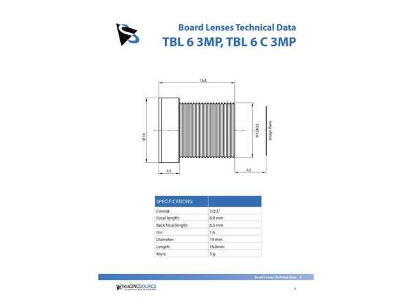 Datasheet for TBL 6 C 3MP Lens