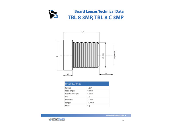 Datasheet for TBL 8 C 3MP Lens
