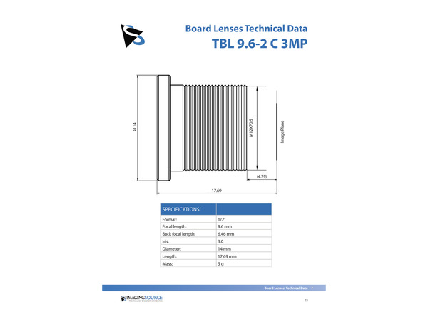 Datasheet for TBL 9.6-2 C 3MP Lens