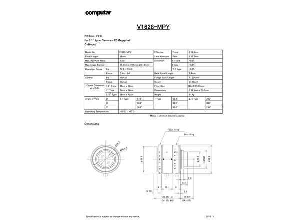 Datasheet for V1628-MPY Lens