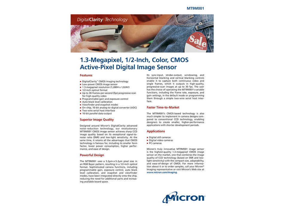 Datasheet for Micron MT9M001 CMOS Sensor :: The Imaging