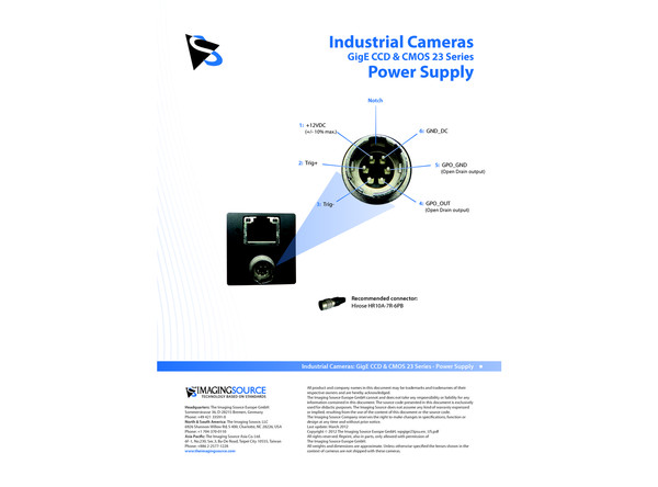 Industrial Cameras: GigE CCD and CMOS 23 Series - Power Supply